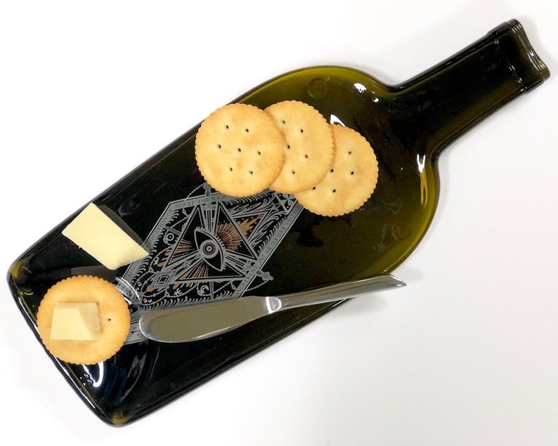 Melted Bottle Cheese Tray Saved California Red Wine Bottle image 0