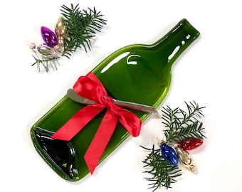 Christmas Cheese Tray, Melted Bottle Wine and Cheese Gift, Spoon Rest, Culinary Gift For Her