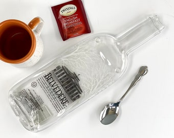 Premium Vodka Flattened Bottle Cheese Tray, Melted Glass Bottle Large Spoon Rest, Martini Lover Gift, Unique Wedding Present