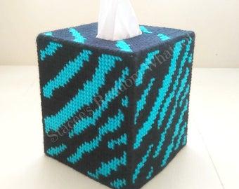 Aqua Blue Zebra Striped Plastic Canvas Tissue Box Cover, Kleenex Cover, Zebra  Decor,