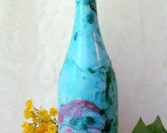 Blue Green Pink Marbled Bottle, Decorative Bottle, Painted Bottle, Bottle Art, Wine Bottle Decor, Housewarming Gift, Ready To Ship