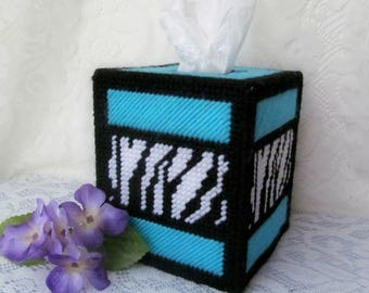Blue Zebra Striped Plastic Canvas Tissue Box Cover, Blue Bathroom Decor, Blue Bedroom Decor, Boho Decor, Zebra Print, Housewarming Gift