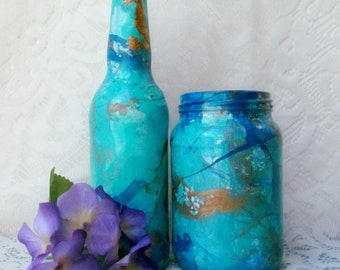 Blue and Gold Marbled Bottle and Upcycled Jar Set, Decorative Bottle, Painted Bottle, Bottle Art, Gift For Her, Beer Bottle, Ready To Ship