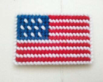 American Flag Plastic Canvas Refrigerator Magnet, Patriotic Magnet, Patriotic Decor, US Flag Decor, Party Favors, Stocking Stuffers