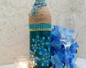 Blue Boho Bottle, Stained Glass Decoupage, Twine Wrapped Beaded Wine Bottle, Upcycled Bottle Art, Boho Shelf Decor, Housewarming Gift