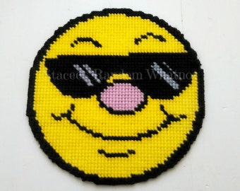 Cool Emoji Wall Hanging, Emoji With Sunglasses, Smiley Face Emoji, Wall Art, Wall Decoration, Gift For Teens, Ready To Ship