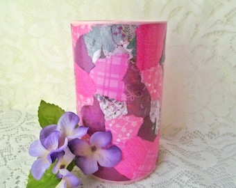 Pink Patchwork Vase - Pink Vase - Decoupage Vase - Centerpiece Vase - Table Centerpiece - Table Decor - Shelf Decor - Ready To Ship