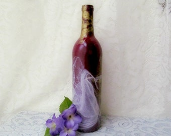 Burgundy Painted Wine Bottle Decor, Marbled Bottle, Upcycled Bottle, Wine Bottle Vase, Kitchen Decor, Wine Decor, Housewarming Gift,