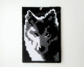 Wolf Picture, Wolf,  Husky, Plastic Canvas Wall Art, Wall Decor, Wall Hanging, Mascot, Housewarming Gift, Wolf Decor,  Ready To Ship