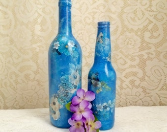Blue Decoupaged Bottle Decor, Wine Bottle Vase, Table Decor, Blue Victorian Decor, Boho Decor, Country Decor, Gift For Women, Ready To Ship