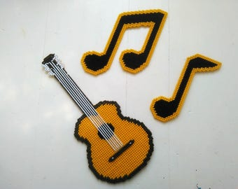 Guitar and Music Notes, Guitar Wall Hanging, Guitar Wall Decor, Guitar Art, Music Art, Music Gift, Music Teacher Gift, Ready To Ship