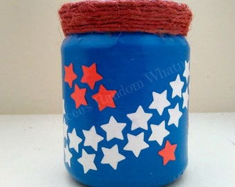Patriotic Vase, Decoupage Jar, Patriotic Decor, Decorative Jar, American Flag, Upcycled Jar, Fourth of July, Independence Day, Ready To Ship