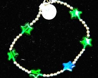 emerald star silver bracelet