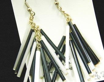 long black and white bugle cascade earings