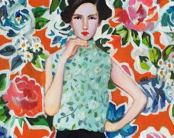 flower girl - acrylic ORIGINAL painting on canvas - wall art- wall decor- home decor