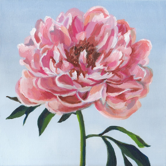 Pink Flower Acrylic ORIGINAL Painting On Canvas Drawing