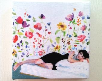 Imaginary world  / Jenny / tiny canvas print -  wall hanging - Print of Original acrylic painting- CANVAS ART PRINT