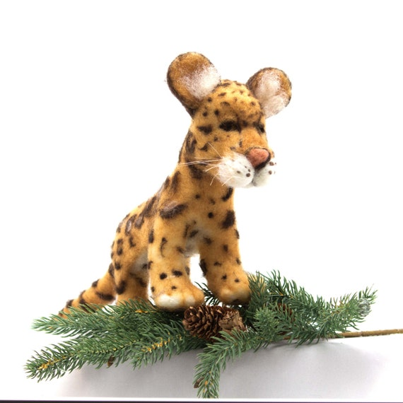 Needle Felted Clouded Leopard Soft Sculpture Etsy