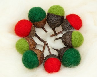 Needle Felted Acorns Large Wool