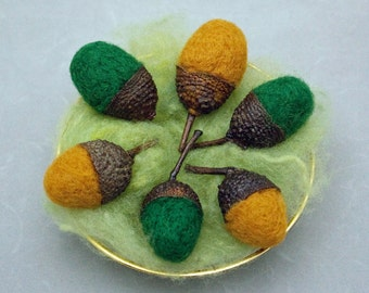 Wool Acorns Acorns Needle Felted Large Wool