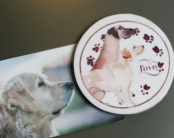 4 pack Doggie Love Watercolor Magnets