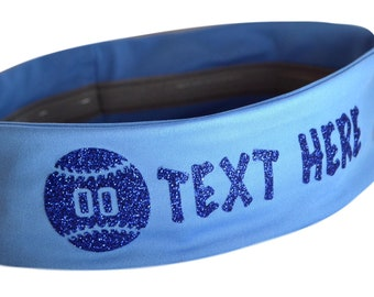 No Slip SOFTBALL Headband Personalized with Your Custom Text in GLITTER -  Wholesale Quantity Team Discounts by Funny Girl Designs ecada6978f5