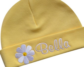 256022d4899 Personalized Embroidered Baby Girl Monogrammed Hat with DAISY FLOWER With  Your CUSTOM Name By Funny Girl Designs in 4 Colors!