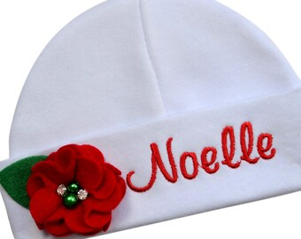 285e5f3dc13 Personalized EMBROIDERED Baby Girl Red and White CHRISTMAS Hat with Your  Custom Name - Choose Bow or Flower
