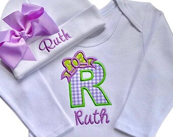 380bc8003fe Personalized Baby Girl Embroidered INITIAL Bodysuit and MATCHING Grosgrain  BOW Hat with Your Custom Name - Purple Gingham