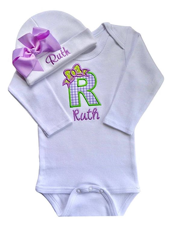 b360de745e3 Personalized Baby Girl Embroidered INITIAL Bodysuit and