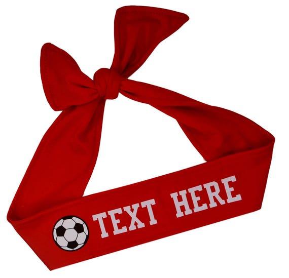 Soccer Tie Back Headband with VINYL Text and Ball Customizable  0c46d5e17e5