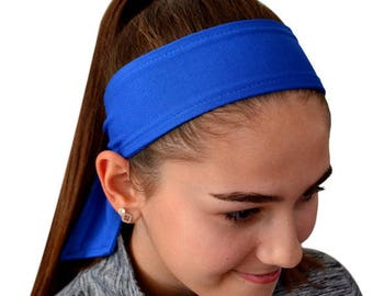 Solid TIE BACK Moisture Wicking Sport Headbands Quantity DISCOUNTS - Great for Embroidery, Screen Print and Heat Transfer Materials