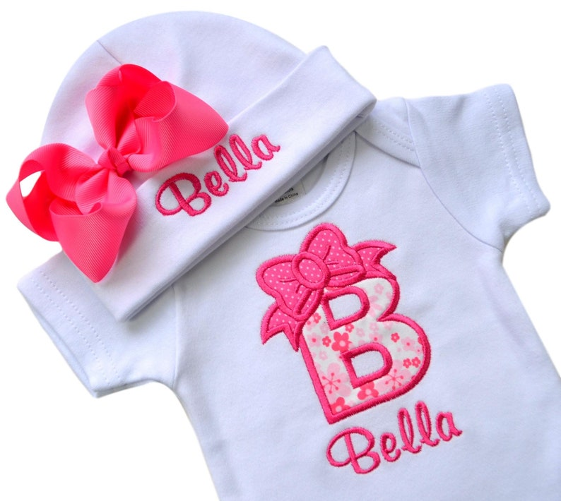 a3b302239 Personalized Baby Girl Embroidered INITIAL Bodysuit and MATCHING Grosgrain  BOW Hat with Your Custom Name - Pink Flowers