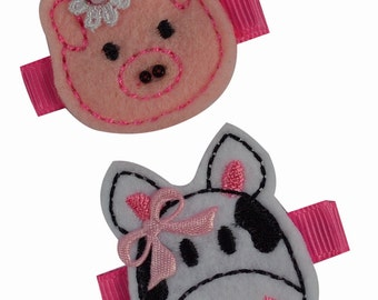Children's Hair Clip Set with Felt Embroidered Pig & Cow