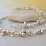 Sol Sterling Silver Bracelet. Linked Knots. Rustic Links. Handmade Chain. Jewelry for Men and Women.
