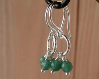 Green Aventurine Sterling Silver Chandelier Earrings, Little Dainty Dangle Short Earrings, Whimsical Silver, Whimsy Lau Gemstone Earrings