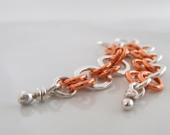 Sterling Silver Copper Earrings. Dangling Rings & Knots