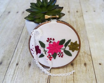 Upcycled Floral Embroidery Ring Bearer Hoop - 4 inch
