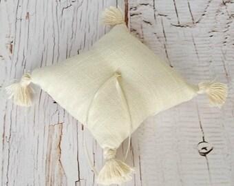 Linen and Tassels Ring Bearer Pillow, Baby size, Immediate Shipment