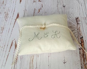 Embroidered Linen Ring Bearer Pillow, Initials, Choose your Linen Color - Two Sizes