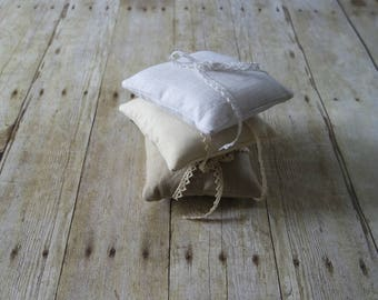 Linen Ring Bearer Pillow, 5 x 5 inches, Choose Your Linen Color