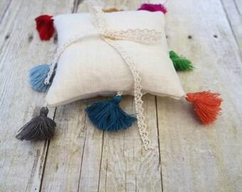 Bright Boho Tassel - Petite Linen Ring Bearer Pillow, 5 x 5 inches