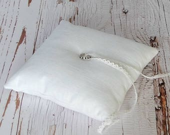 Linen Ring Bearer Pillow, 8 inch square, choose your linen color