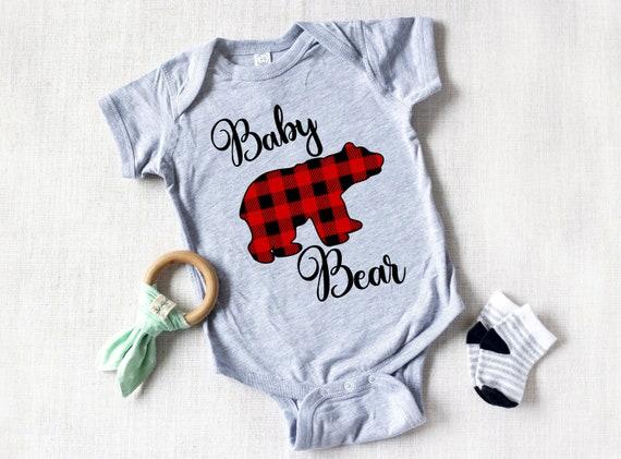 Baby Gift Baby One Piece Bear Bodysuit Christmas Bear Baby Shirt Baby Shower Gift Buffalo Plaid Bear Bodysuit Boy Bodysuit