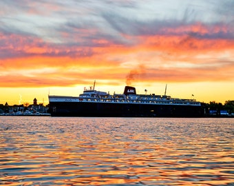 Super Morning over the Lake Michigan Carferry - SS Badger - Ludington - Michigan Photography