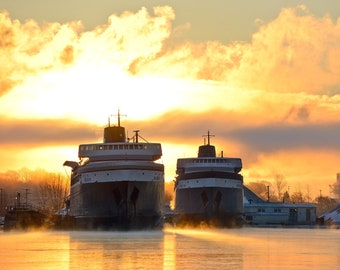 Glowing Sunrise over the Lake Michigan Carferries - SS Badger - Ludington - Michigan Photography