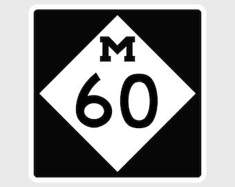 M-60 Vinyl Decal - Michigan Lower Peninsula