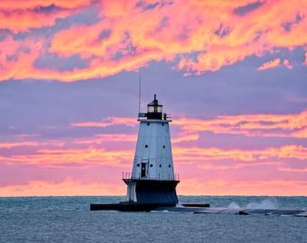 Electric Sky - Ludington Lighthouse - Michigan Photography