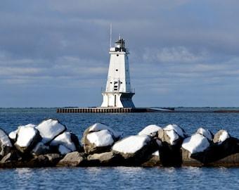 Snowy Rocks - Stearns Park Ludington - Michigan Photography - Stock Photography