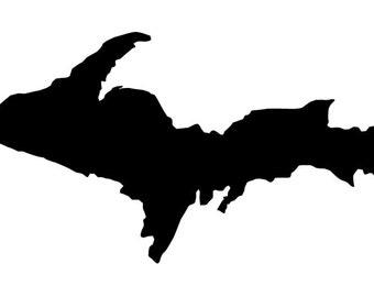 Upper Peninsula silhouette vinyl decal